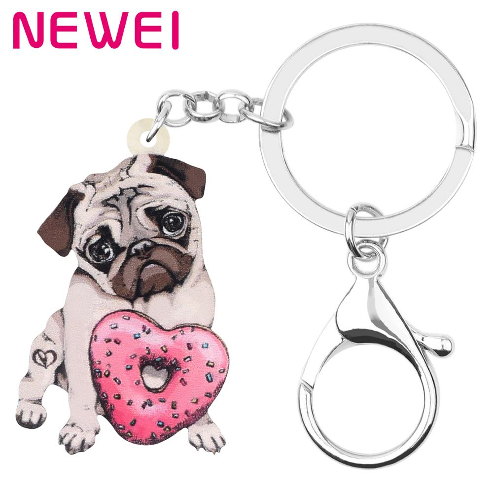 NEWEI Acrylic Valentine's Day Donuts Pug Dog Key Chains Rings Bag Car Purse Decorations Keychains For Women Girl Teen Charm Gift