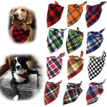 Dog Bandanas Large Pet Scarf Pet Bandana For Dog Cotton Plaid WashableBow ties Collar Cat Dog Scarf Large Dog Accessories
