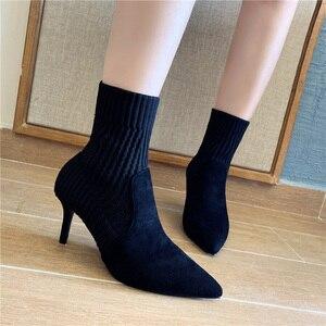 Image 5 - Botas de calcetín de Invierno para mujer, botines elásticos de punto Sexy, zapatos de tacón alto a rayas, botines de otoño 2019