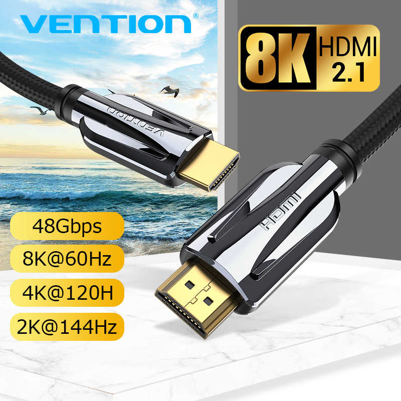 Vention cabo hdmi 2.1 macho para macho, cabo hdmi 120 4k hz 3d de macho para macho, para interruptor, divisor de tv, ps3/projetor de caixa inteligente 8k, 4