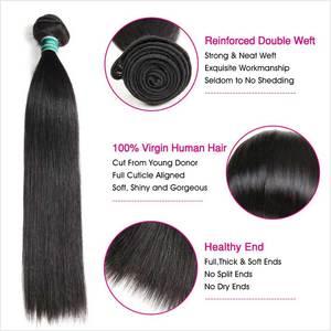 Image 3 - עלי גרייס שיער ברזילאי ישר שיער 4x4 סגר עם חבילות שיער טבעי 100% רמי ישר חבילות עם סגירת אמצע חלק