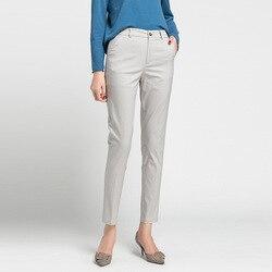 Женские повседневные однотонные брюки до щиколотки из хлопка и льна, весна-лето 2020