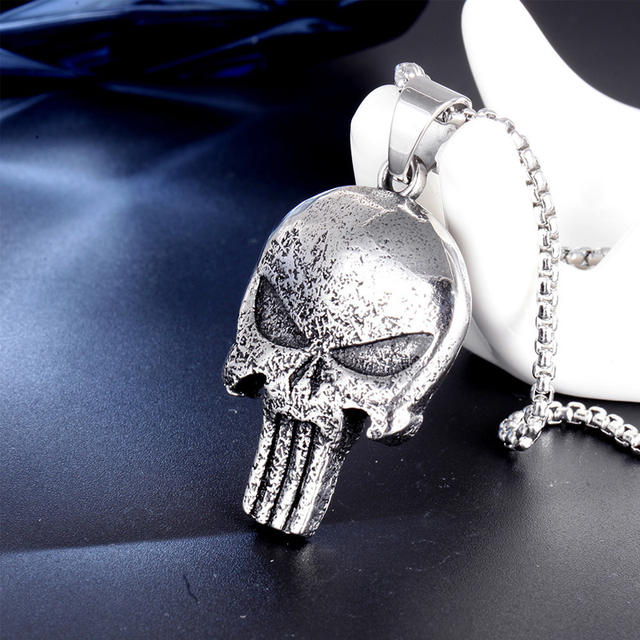 STAINLESS STEEL SKULL PUNISHER NECKLACE
