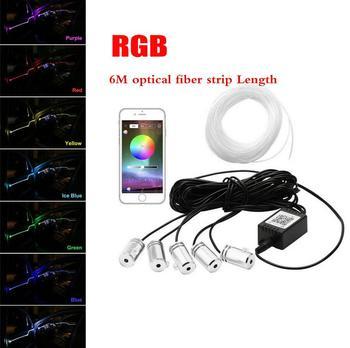 6M 12V Car Auto Atmosphere Light W/Cigarette lighter Neon EL Fiber Optical Strip Light Cable Bluetooth App Control RGB 5in1