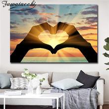 Fuwatacchi картина маслом с любовным сердцем плакаты современный