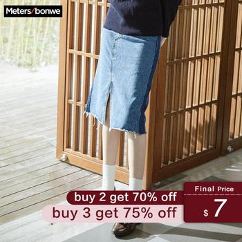 MetersBonwe انقسام الجبهة ممزق الدينيم تنورة 2019 حجم كبير موضة جديدة الصيف الركبة طول المرأة الأزرق عالية الخصر تنورة غير رسمية