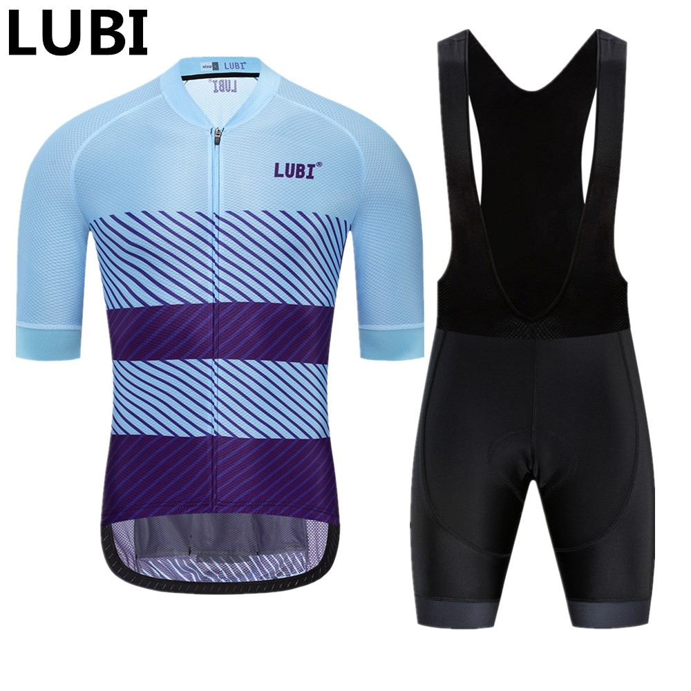 LUBI New Pro Team Men Summer Cycling Jersey Bib Short Set Wear Breathable Gel Pad MTB Clothes Kits Bike Clothing Road Suit