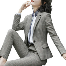 Women's Fashion Plaid Suits, Long Sleeved Business And Office Ladies Blazer Pants Work Wear Costume Femme Traje Mujer Maternity