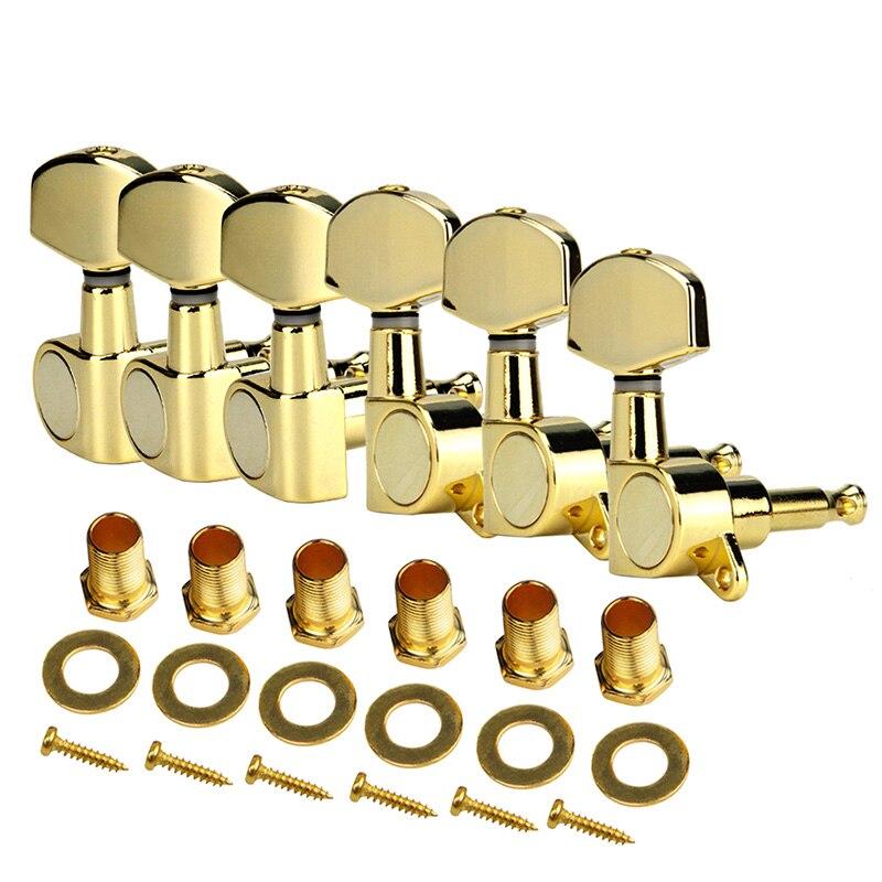 Un ensemble 6 pièces Chrome verrouillé chaîne Tuning chevilles clés accordeurs têtes de Machine pour acoustique guitare électrique serrure Style Schaller - 4