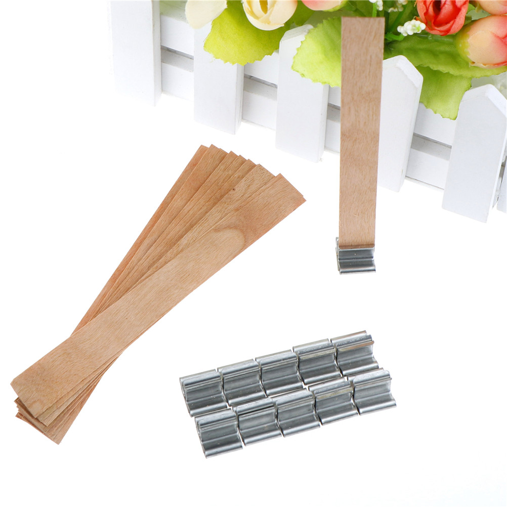 3 Size 10x Wooden Wick+10x Iron Shelf Candle Wood Wick With Sustainer Tab Candle Making Supply Handmade Candle Core
