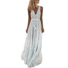 Платье женское длинное в горошек винтажное хлопковое пляжное