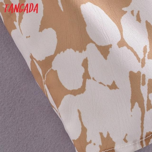 Tangada 2021 Summer Women Floral Print Short Dress Square Neck Short Sleeve Ladies Mini Dress Vestidos 3A148 5