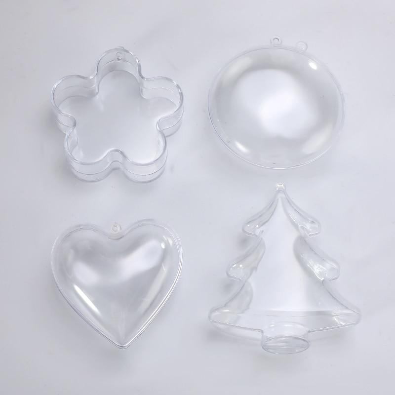 4Type Clear Plastic 3D Bath Bomb Mold Heart Flowers Shape Bath Bomb Mold DIY Christmas Xmas Trees Decoritions Bath Accessories
