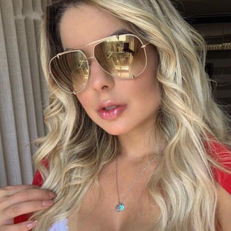 Luxury Brand Pilot Sunglasses Women Fashion Oversized Gradient Metal Sunglasses For Female Vintage Mirror Men Glasses Oculos