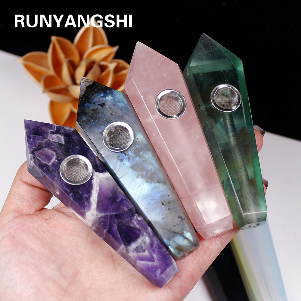 Natural crystal stone smokey pipe healing quartz jewelry crystal point wand gemstone With 3pc Metal Filter + 1brush