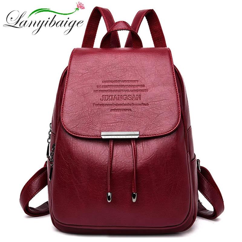 2019 Classic Women Leather Backpacks For Girls College Travel Bagpack Ladies Backpack Women Sac A Dos Mochila Feminina Back Pack