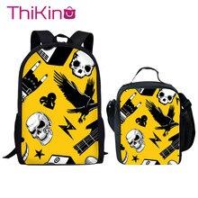 Thikin School Bag 2PCS Set for Boys Rock Music Backpack Girls Supplies Lunch Pen Bags Kids Book