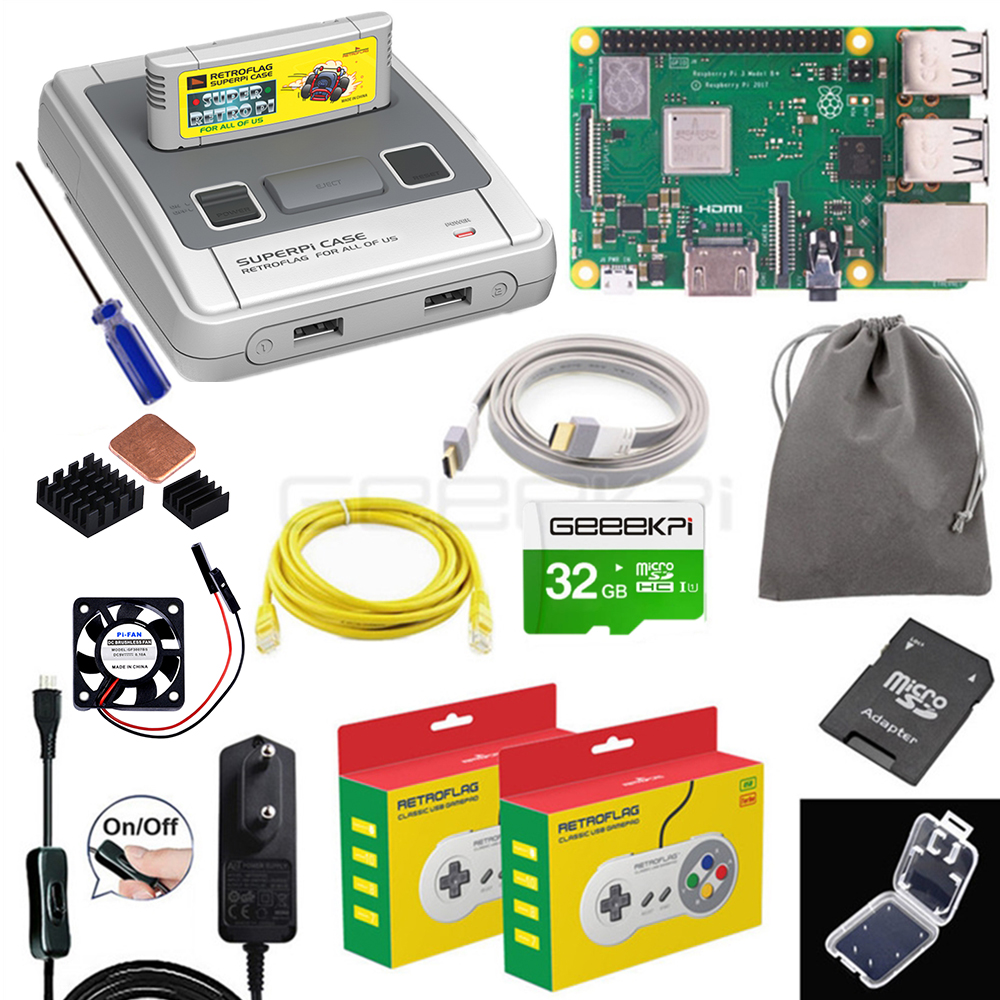GeeekPi Retroflag Original SUPERPi CASE-J NESPi Case With Optional Game Controller Carry Bag For Raspberry Pi 3B+ / 3B / 2B