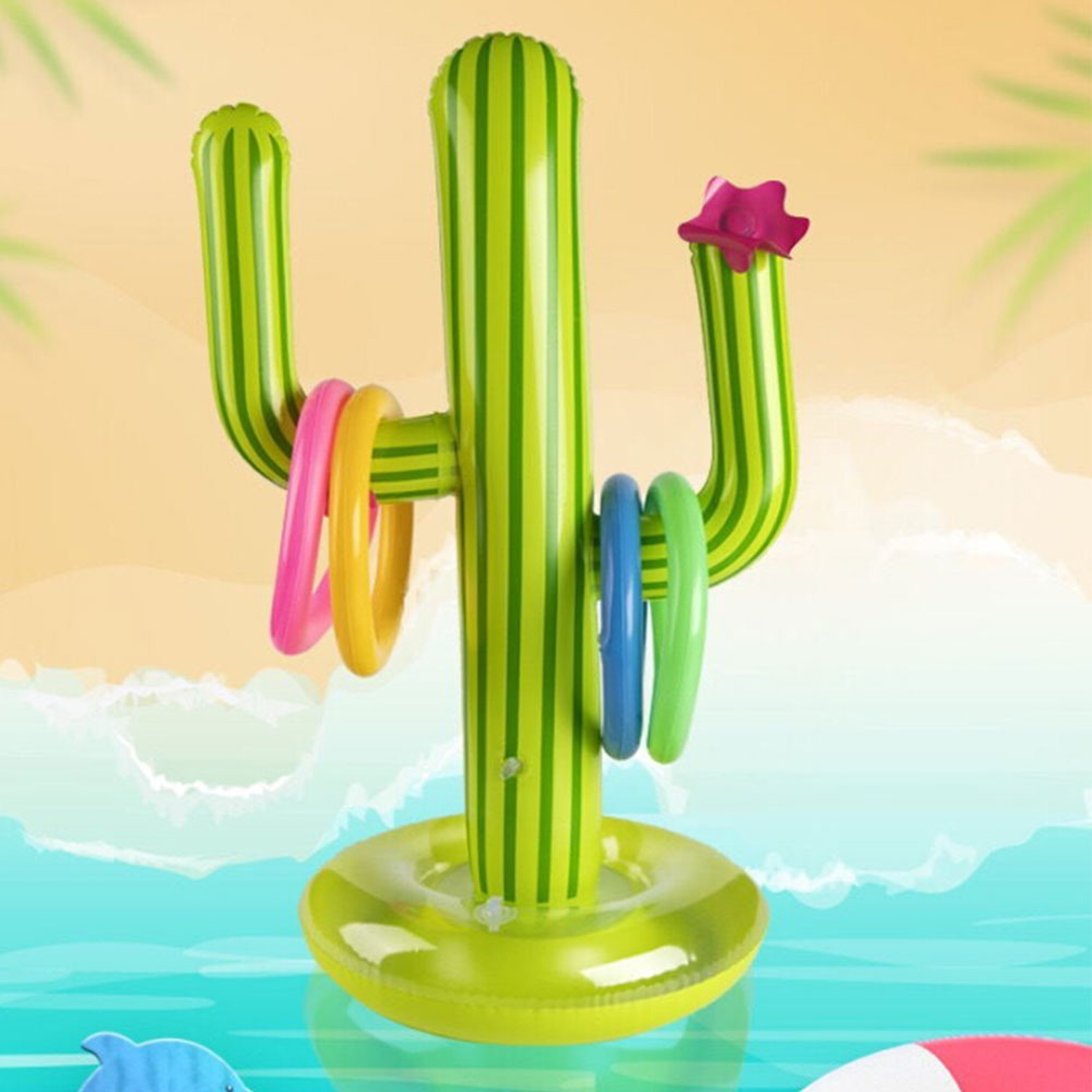 1Set Inflatable Cactus Ring Toss Game Inflatable Toss Game Pool Toys Hawaii Party Supplies Indoor Outdoor Game For Kids Adults