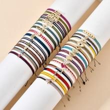 ZMZY Bohemian Handmade Woven Rope Chain Bracelet Ethnic Adjustable Crystal Heart Charms Bracelets for Women Girl Cuff Jewelry