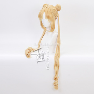 Image 4 - Sailor Moon Double Ponytail Long Straight Blonde  Synthetic Cosplay Wig for Halloween Costume Party