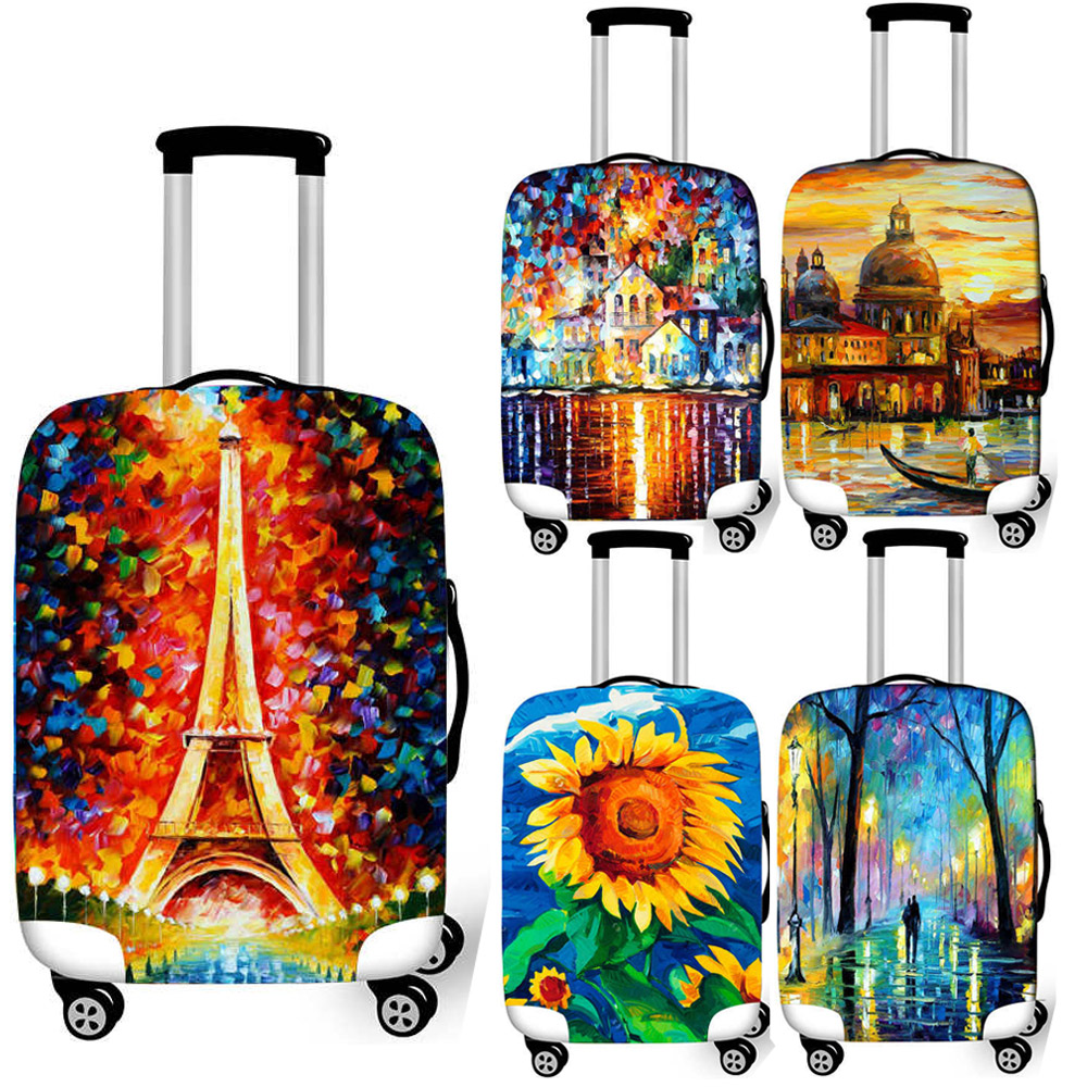 Oil Painting Eiffel Tower Luggage Protective Cover Travel Accessories Elastic Covers For 18-32 Inch Trolley Case Suitcase Cover