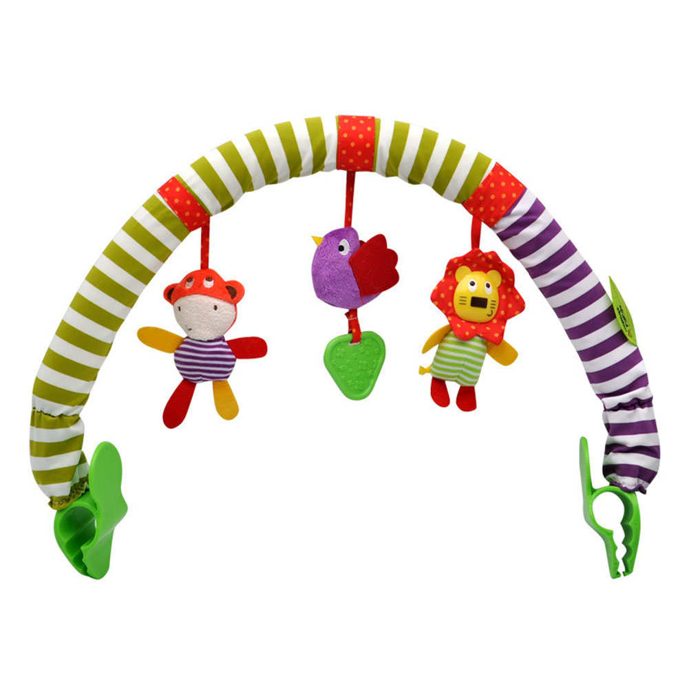 Cot Hanging Toys Washable Baby Seat With Teethers Soft Portable Stroller Gift Educational Squeaky Rattles Ring Bell Infant Cloth