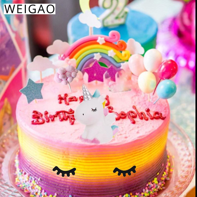Awesome Rainbow Unicorn Cake Topper Birthday Wedding Party Decor Unicornio Personalised Birthday Cards Beptaeletsinfo