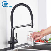 POIQIHY Pure Water Filter Kitchen Faucet Pull Down Filtered Faucets Black Brass Crane Dual Handle Spout Hot Cold Mixer Tap