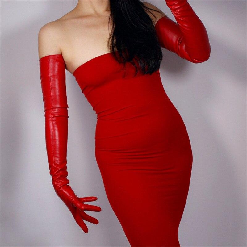 Extra longo luvas de couro feminino 70cm sobre cotovelo emulação couro falso pele de carneiro pu unfored mulher luvas moda vermelho wpu54