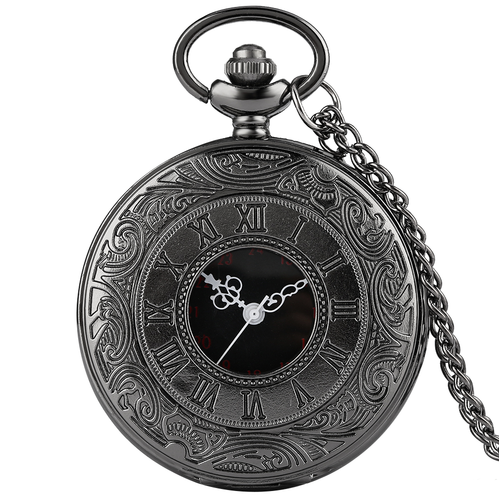 Vintage Charm Black Unisex Fashion Roman Number Quartz Steampunk Pocket Watch Women Man Necklace Pendant With Chain Best Gifts