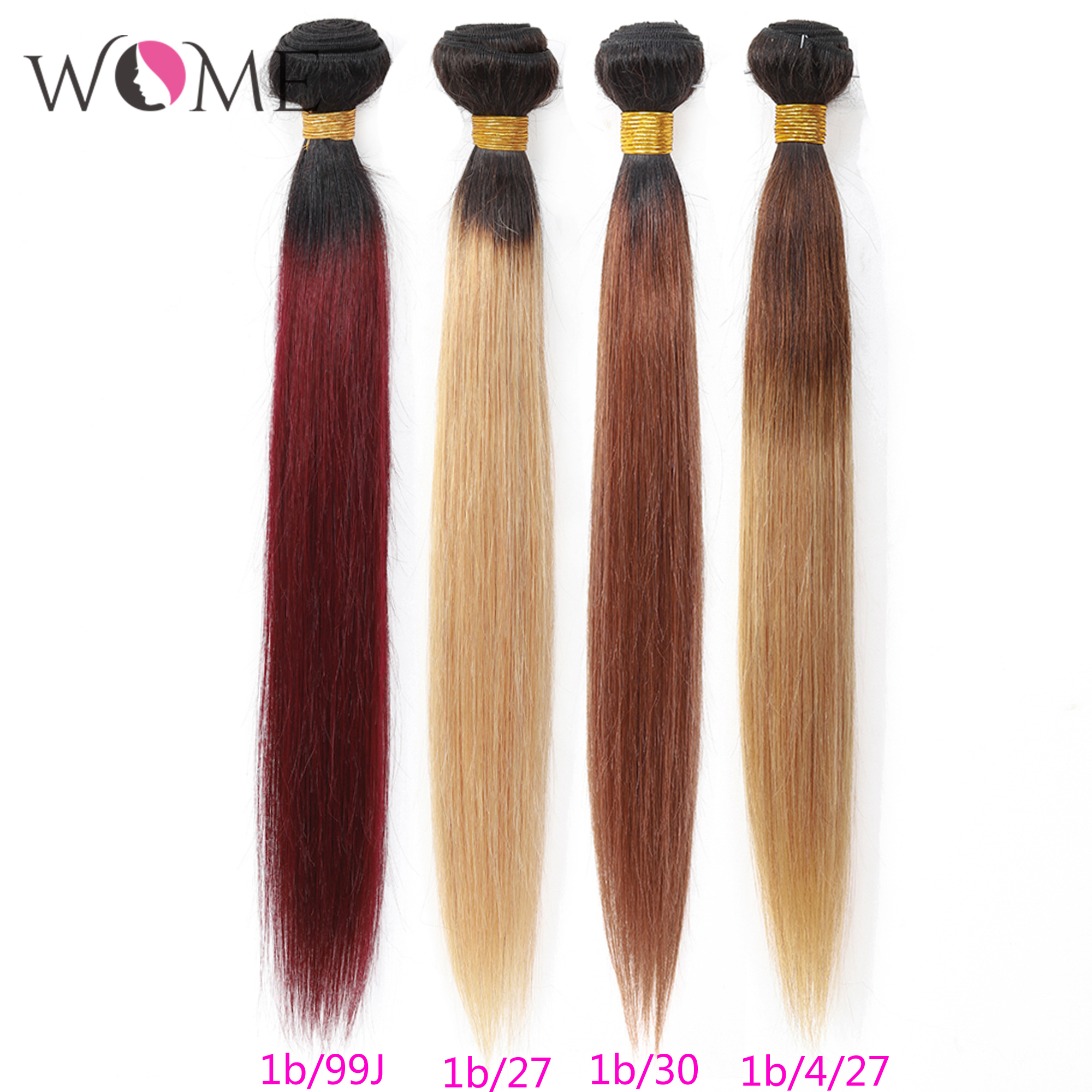 WOME Ombre Straight Hair Bundles Pre-colored 1b/27 1b/30 1b/99j Brazilian Human Hair Bundles 1/3/4pcs Two Tone Non-remy Hair