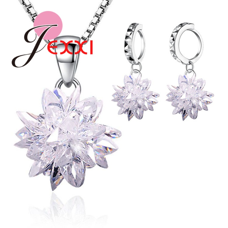 Jewelry-Sets Ice-Flower-Pendant Gifts Sterling-Silver Women Wholesale High-Quality
