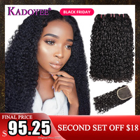 Double Drawn Human Hair Pissy Curls Bundles and Closure Fumi Hair Weave Pixie Curls 3Bundles with Closure Remy Hair Extensions