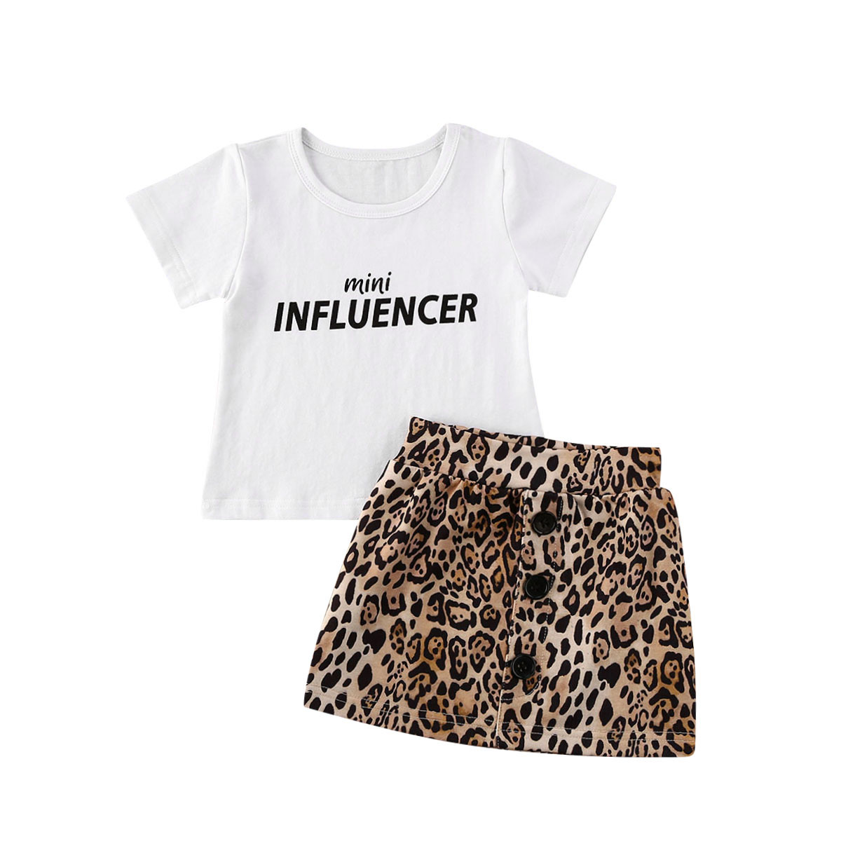 Toddler Baby Girl Two Pieces Set Short Sleeve Tshirt Leopard Skirt Suit Kids Girl Summer Clothes