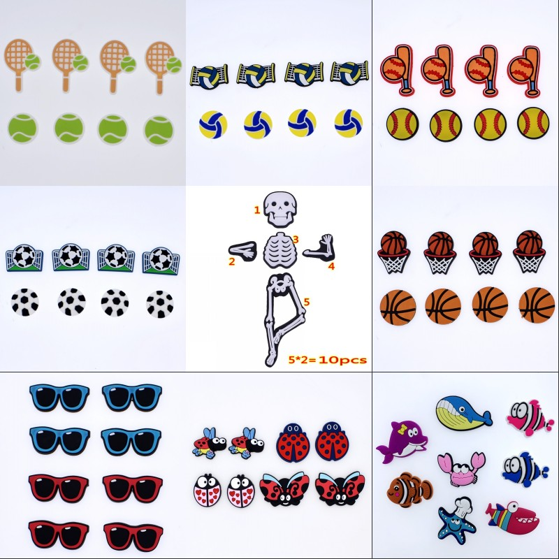 New Year Gift Glasses Football Basketball Crab Starfish Whale Skeleton Ladybirds Tennis Volleyball Baseball Shoe Bracelet Charms