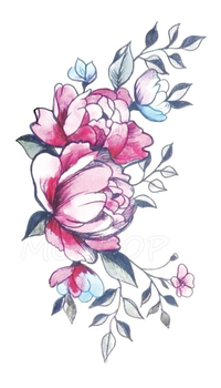 Tattoos Sticker pink rose plant flower letter Little Element Body Art Water Transfer Temporary Fake tatto for kid girl boy 4