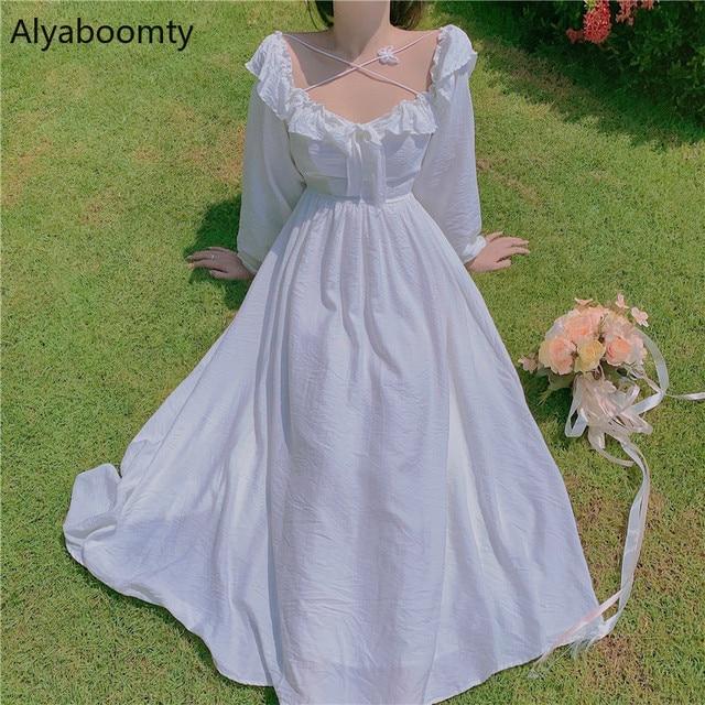 Long White Fairy Princess Dress Elegant Long-Sleeve 1