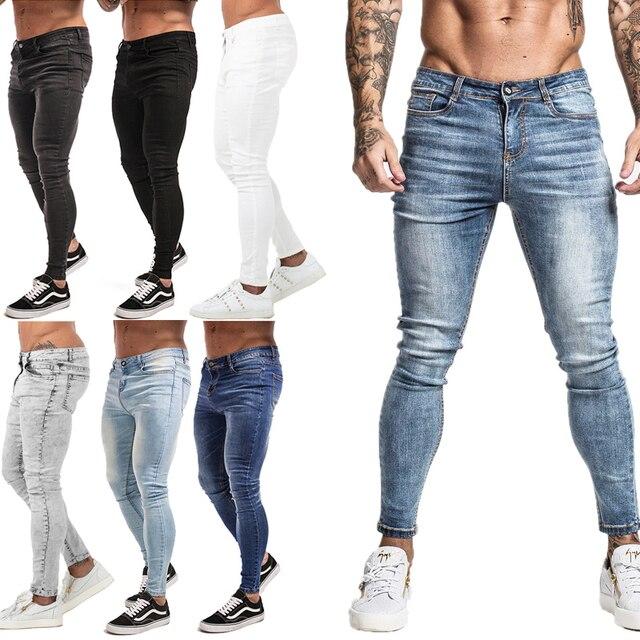 GINGTTO-pantalones vaqueros elásticos para hombre, Vaqueros ajustados de cintura para hombre, pantalones con diseño rasgado, ropa de calle, Vaqueros azules para hombre 2020 1