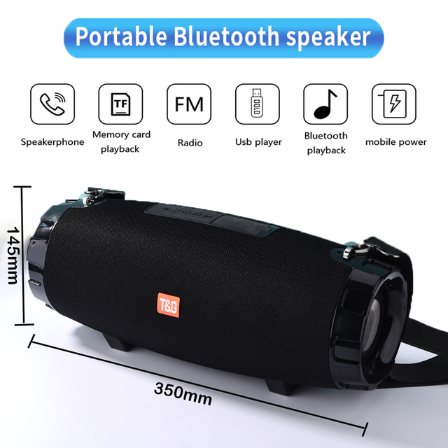40W Portable Bluetooth Speaker Boom box TG526 wireless Outdoor Column Waterproof 3D stereo Subwoofer support TF FM Radio USB 1