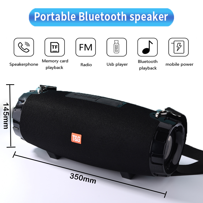 40W Portable Bluetooth Speaker Boom box TG526 wireless Outdoor Column Waterproof 3D stereo Subwoofer support TF FM Radio USB