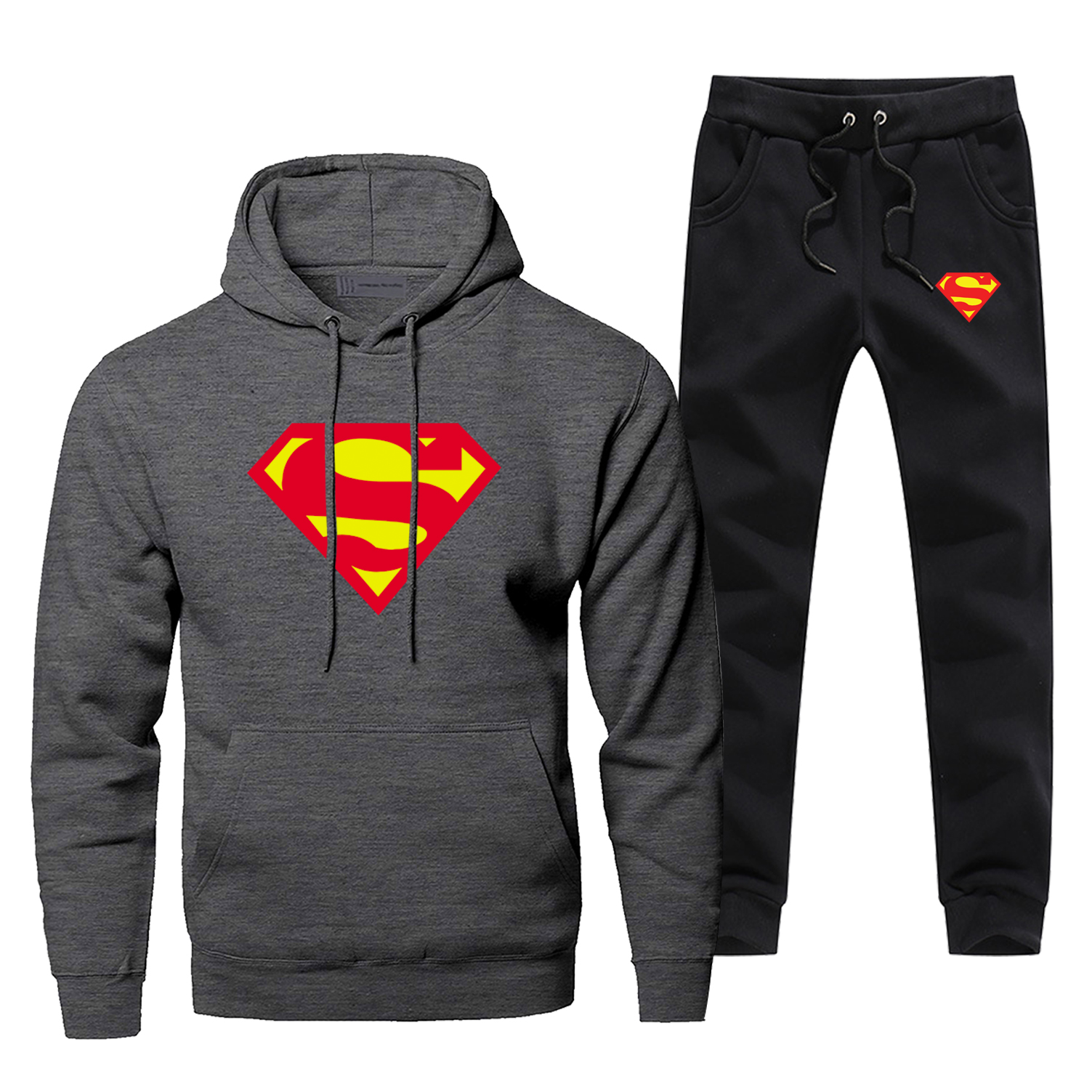 Super Hero Print Busos For Men Superman Hoodies 2019 New Arrival Fashion Winter Warm Thermal Underwear Casual Fleece Men's Sets