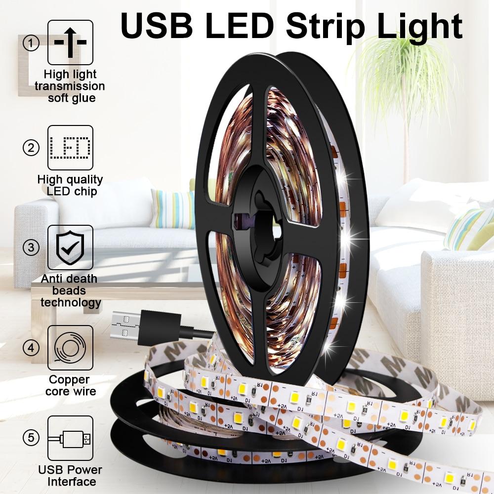 USB bande LED veilleuse TV ruban LED Flexible bande lumineuse 5V armoire lampe LED décoration bande lampe 0.5m 1m 2m 3m 4m 5m 2835