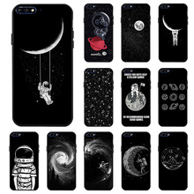 Space Moon Astronaut Case For Huawei Y7 Y6 Pro 2019 Y9 2018 Y5 II Cases 3D DIY Painted Black Cover for Honor Play 8A
