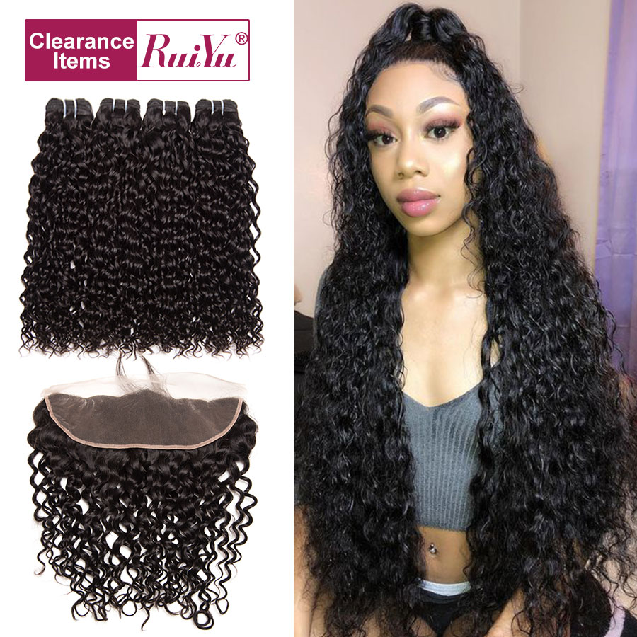 Peruvian Water Wave Frontal With Bundles Remy Human Hair Bundles With Frontal Closure 3 Bundles With Frontal Closure RUIYU Hair