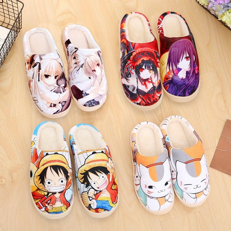 New Anime Natsume yuujinchou Cosplay Shoes Men Women Plush Cotton Slipper Rem Ram Unisex Shoes