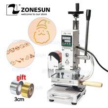 ZONESUN ZS110, máquina de prensado en caliente para prensas de madera, papel de PVC, máquina de estampación de logotipo personalizado en caliente 300W