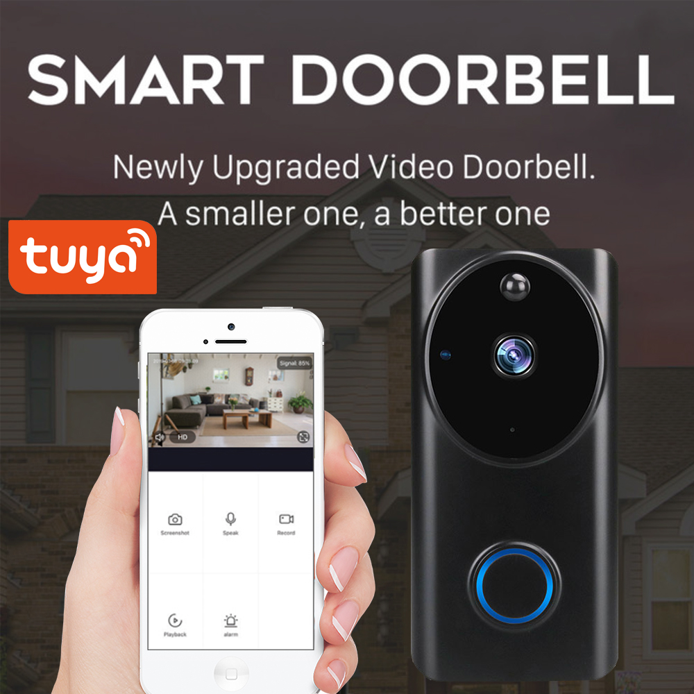 SmartLife App Tuya 1080P WiFi Video Doorbell Smart Video Intercom APP Control Phone Call Monitor Night Vision Camera