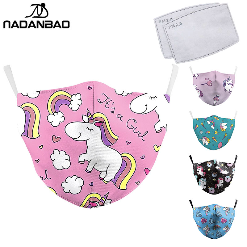 NADANBAO Cute Mask Print Pink Cartoon Unicorn Face Masks Adult Protective PM2.5 Reusable Fabric Mask Cute Mouth Cover Washable