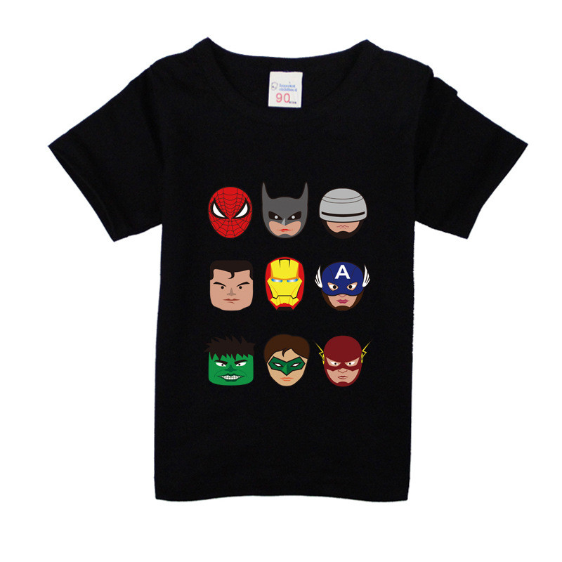 Toddler Boys T Shirt For Kids Avenger T-shirt  Children Batman Superhero Spiderman Cartoon Cotton Short-Sleeved Clothes